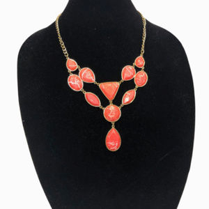 Jewelry - Coral & White Marbled Teardrop Necklace